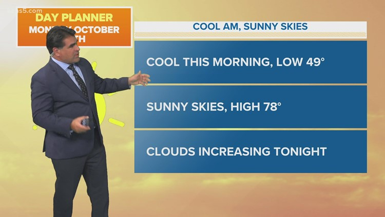 KENS 5 Weather: Monday starts off chilly with temps in the 40s