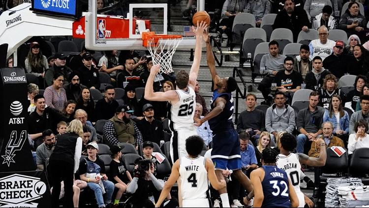 BKN Spurs center Jakob Poeltl blocks a shot in game against the Wolves 11272019