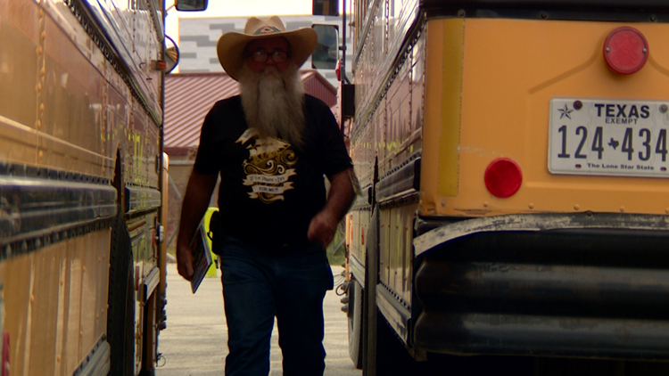 Mr. Cowboy is one of 11 bus drivers for Lytle ISD.
