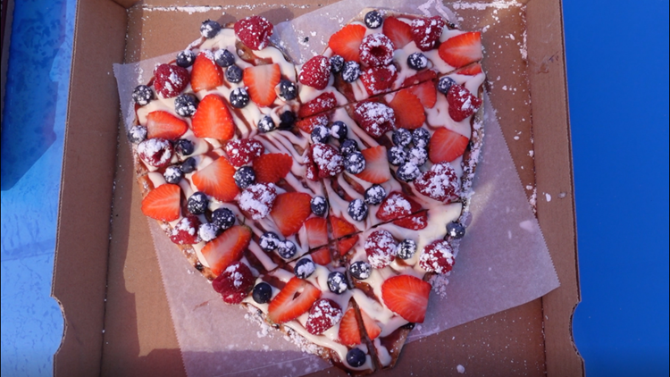 Local food truck makes heart-shaped pizza for Valentine's Day