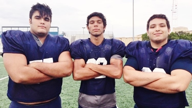 FBH Central tackle guard Zach Holm and Gibby Garza and John Tristan
