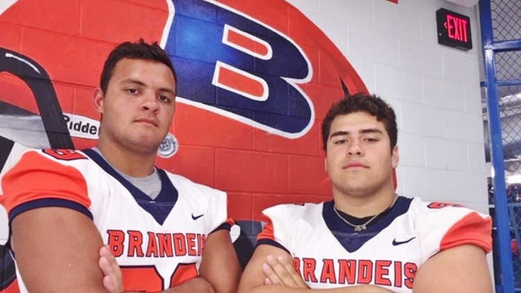 FBH Brandeis tight end Kris Bowen and defensive end Alex Trevino
