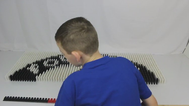 12-year-old creates 6,000-piece domino Memorial Day tribute