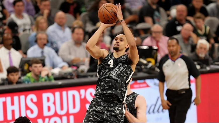 BKN Spurs point guard Derrick White goes up for a shot against the Bucks
