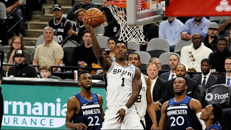 BKN Spurs guard Lonnie Walker IV scores against the Timberwolves 11272019