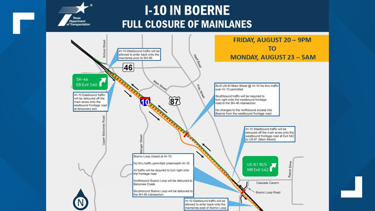 Interstate 10 in Boerne will close over the weekend for bridge demolition