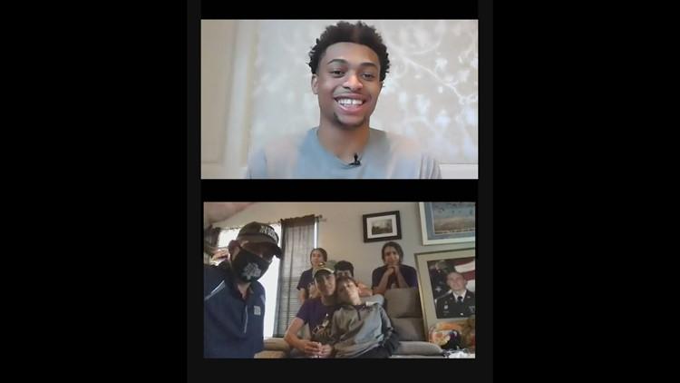 Spurs player Keldon Johnson surprises military family with $10,000 gift