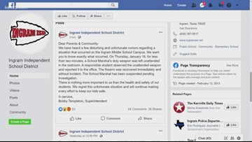 Ingram ISD administrators apologize after student finds gun left by marshal in bathroom