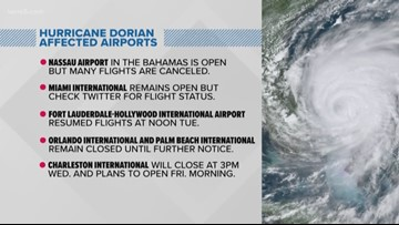 Hurricane Dorian causes travel troubles