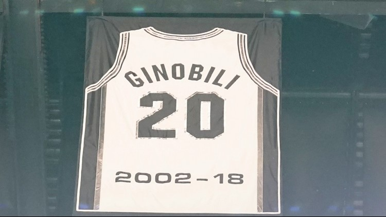 BKN Spurs great Manu Ginobilis jersey now hangs from rafters of AT&T Center