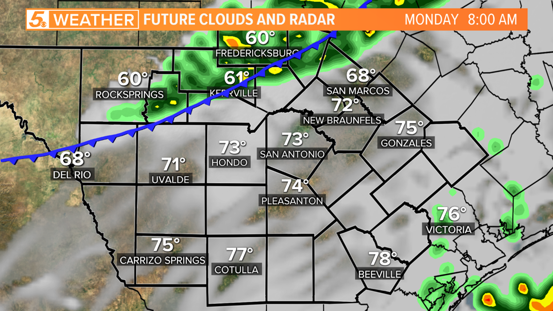 Cooler Air And Rain Arrives To San Antonio Monday Kens5 Com