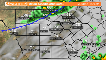Cooler air and rain arrives to San Antonio Monday
