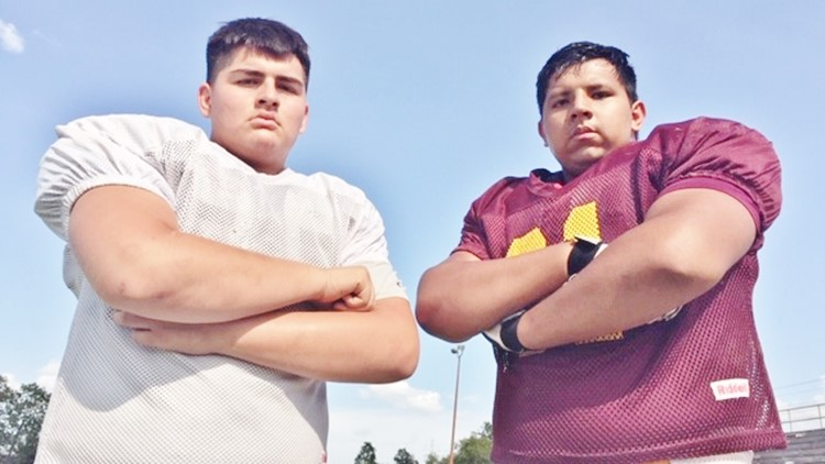 FBH Harlandale nose guard Ricardo Flores and offensive tackle Nicholas Munoz