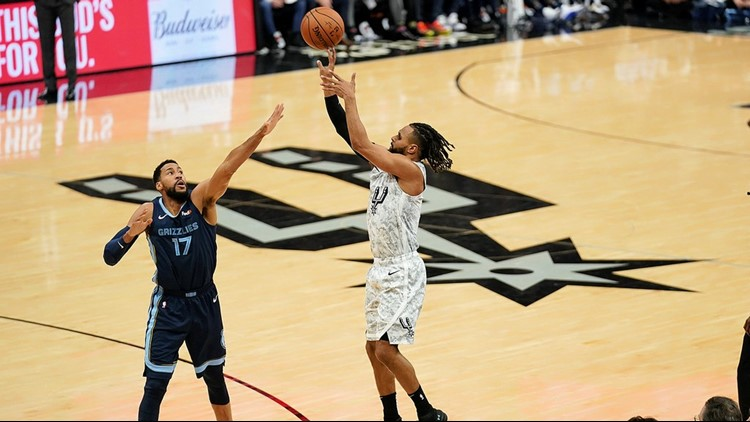 Spurs guard Patty Mills shoots against the Grizzlies 01052019