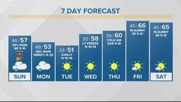 First Alert Forecast: Light freeze headed to South Central Texas