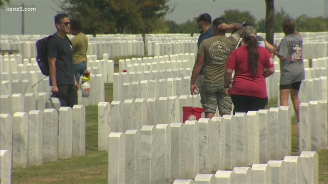 Veteran volunteers clean up military cemeteries in remembrance of 9/11