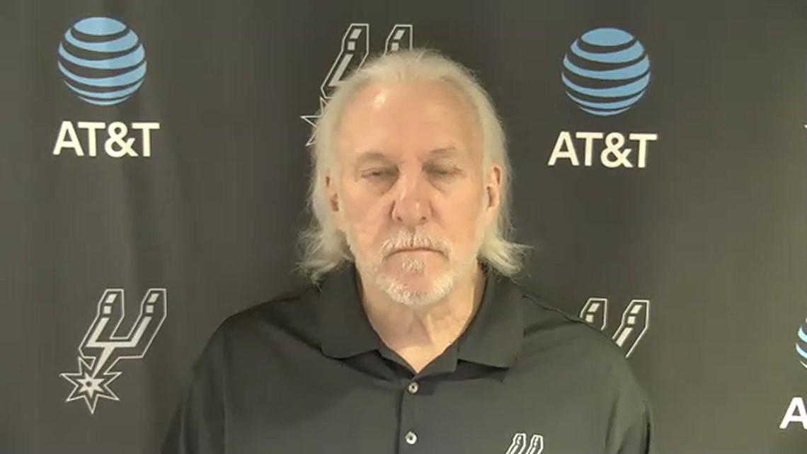 Coach Popovich speaks about Gov. Abbott, Derrick White's injury before Spurs take on Heat in Miami