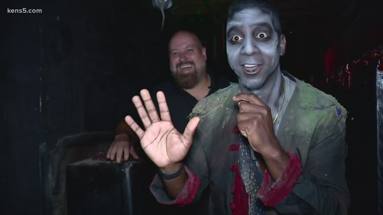 KENS 5 reporter gets spooky at the 13th Floor | See his makeup transformation