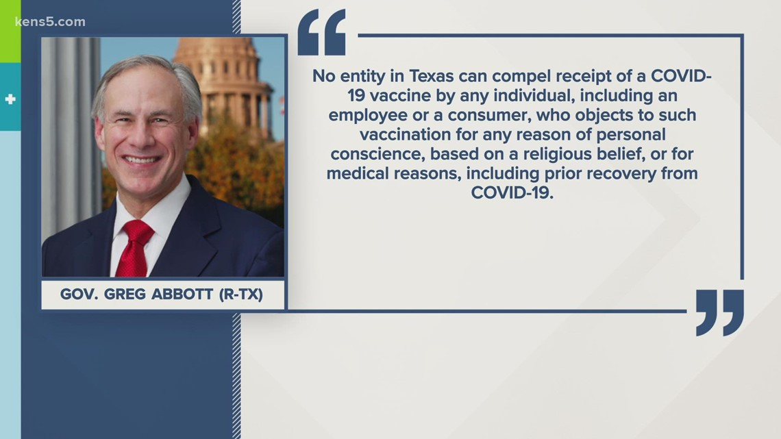 Governor Greg Abbott issues executive order, banning vaccine mandates in Texas