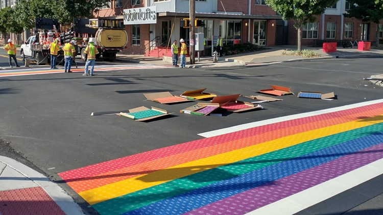 Rainbow Crosswalk returns, may cause some traffic delays as it's being completed