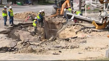 Water main break causes traffic headache at Wurzbach and Evers