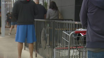 Shoppers wait in long lines before stores even open to get the supplies they need