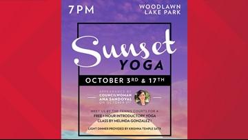 Free sunset yoga class at Woodlawn Lake