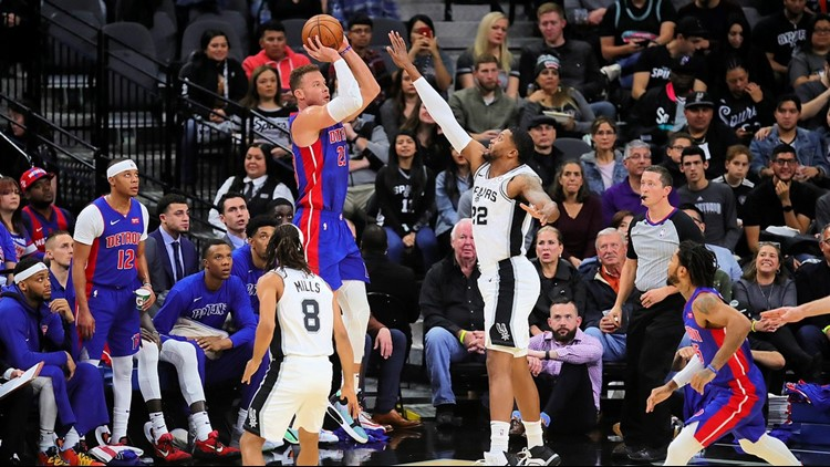 BKN Spurs forward Rudy Gay contests a shot by Pistons forward Blake Griffin 12292019