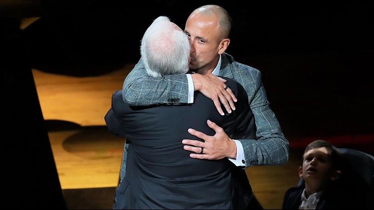 BKN Spurs great Manu Ginobili and Gregg Popovich