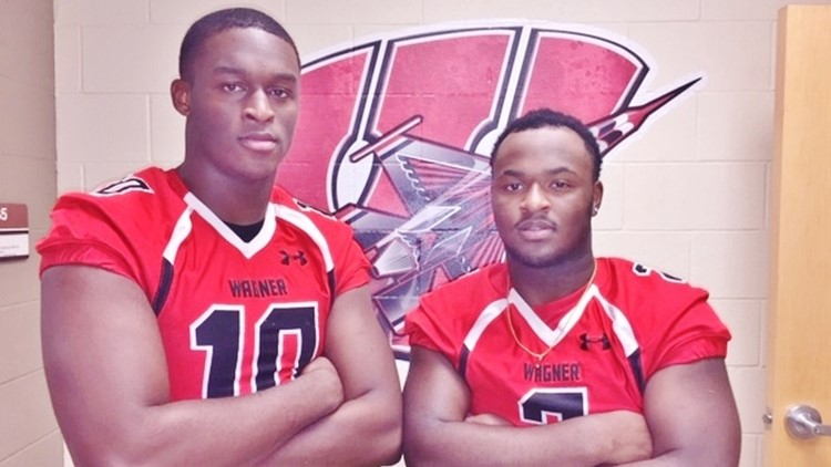 FBH Wagner defensive end DeMarcus Hendricks and fullback L.J. Butler