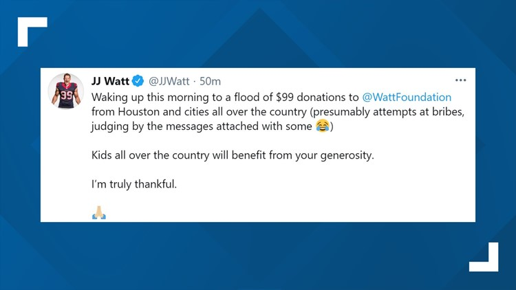 JJ Watt says his charity was flooded with $99 donations after his release from the Texans