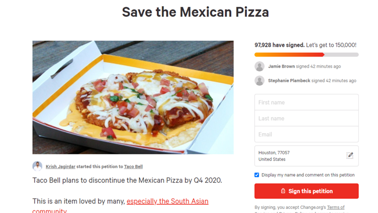 More than 100,000 people sign petition to save Mexican Pizza at Taco Bell