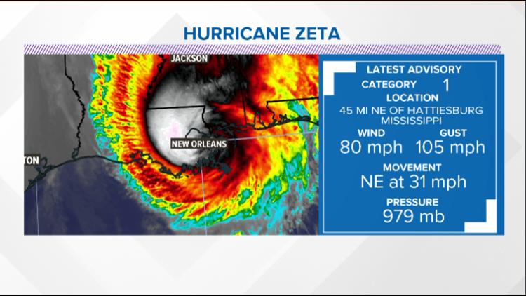 Hurricane Zeta moving quickly through SE United States