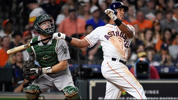 Brantley, Springer hit 2-run homers as Astros down A's 6-0