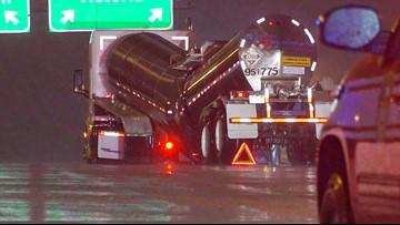 Tanker truck buckles, splits in two on the West Loop