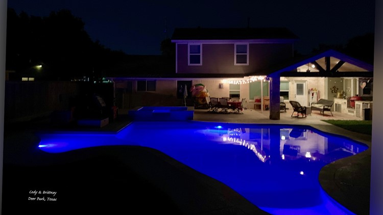 Cody Rogers shared these photos of his family's Texas-shaped pool at their home in Pasadena