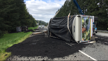 Human waste spilled onto I-90 after semi driver falls asleep, officials say