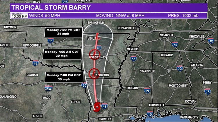 10 p.m. cone Barry July 13, 2019