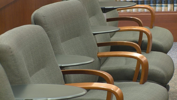 Chairs for jurors in a Mesa County courtroom.