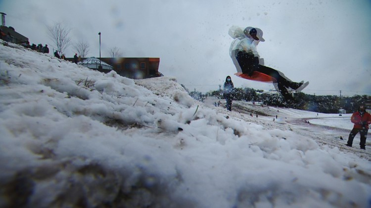 Snow day gets Austinites sledding at Murchison Hill in West Austin