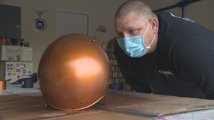 A Gift from Gunderson: Moved by the generosity of Longhorns fan Wes Laurel, Nate Gunderson gifts him a replacement helmet