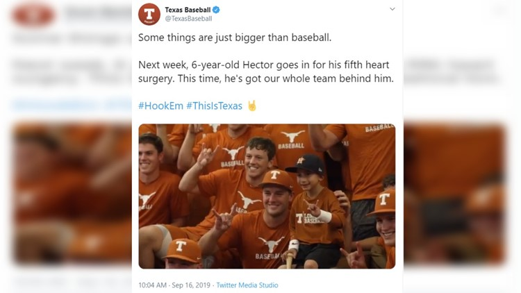 'He's a warrior.' Texas Longhorns baseball tweets heartfelt video for 6-year-old born with heart condition