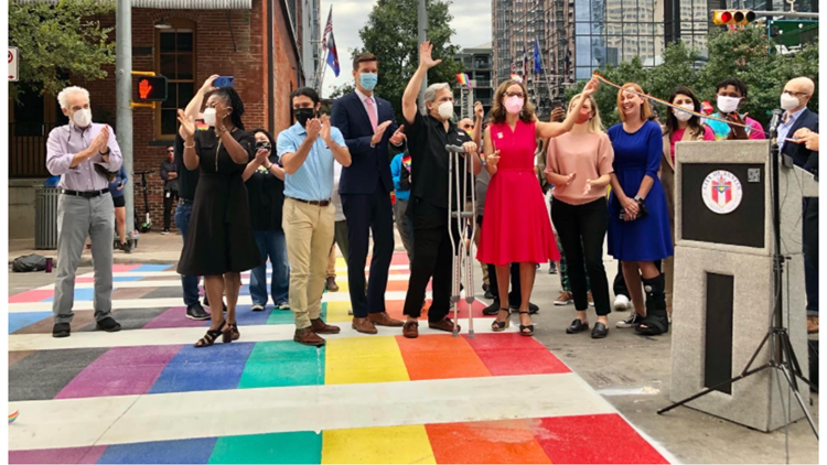 City of Austin installs rainbow crosswalks at Fourth and Colorado streets