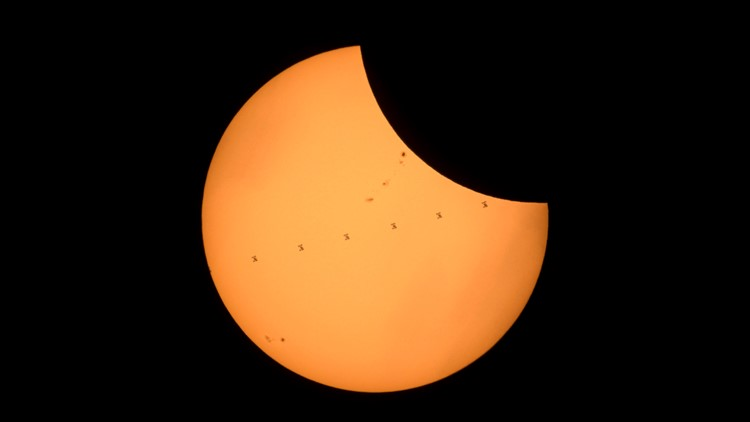 <p>The International Space Station just photo-bombed the eclipse.</p>