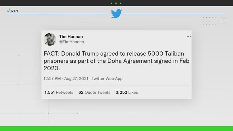 Yes, the Trump administration in 2020 agreed to the release of 5,000 Taliban prisoners
