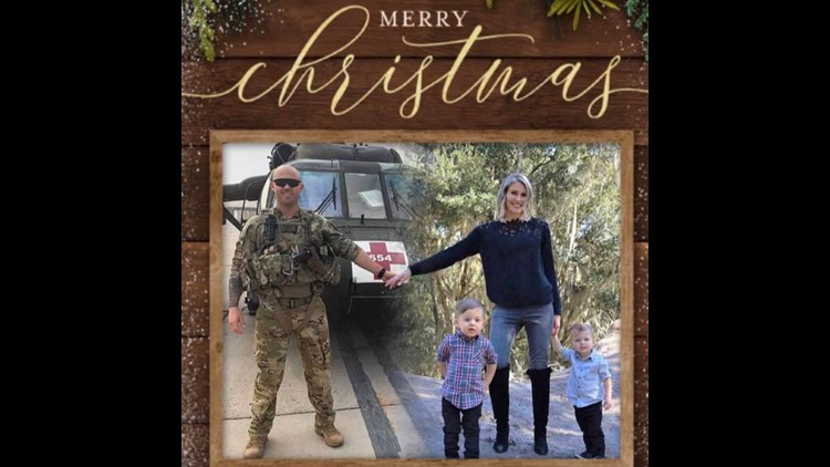Military mom poses with deployed husband pilot in Christmas cards