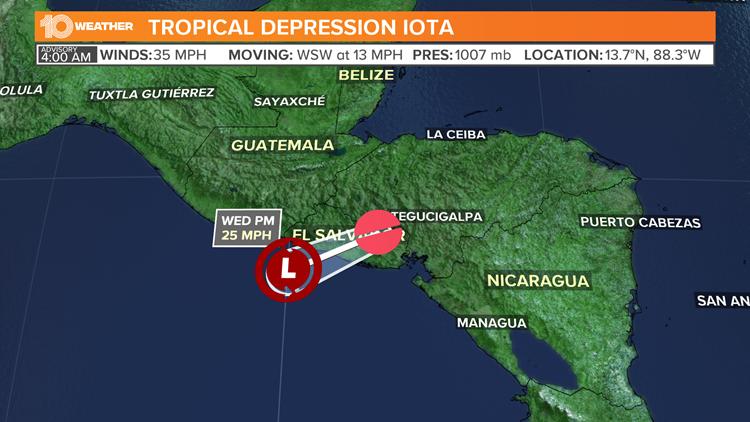 Iota weakens into tropical depression
