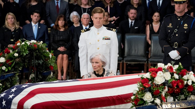John McCain's 106-year-old mother honors son as he lies in state