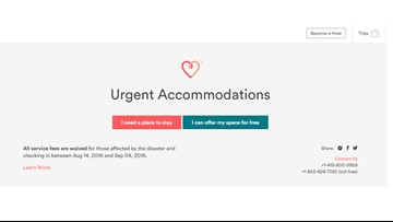 AirBnB offering places to stay for those displaced by flooding